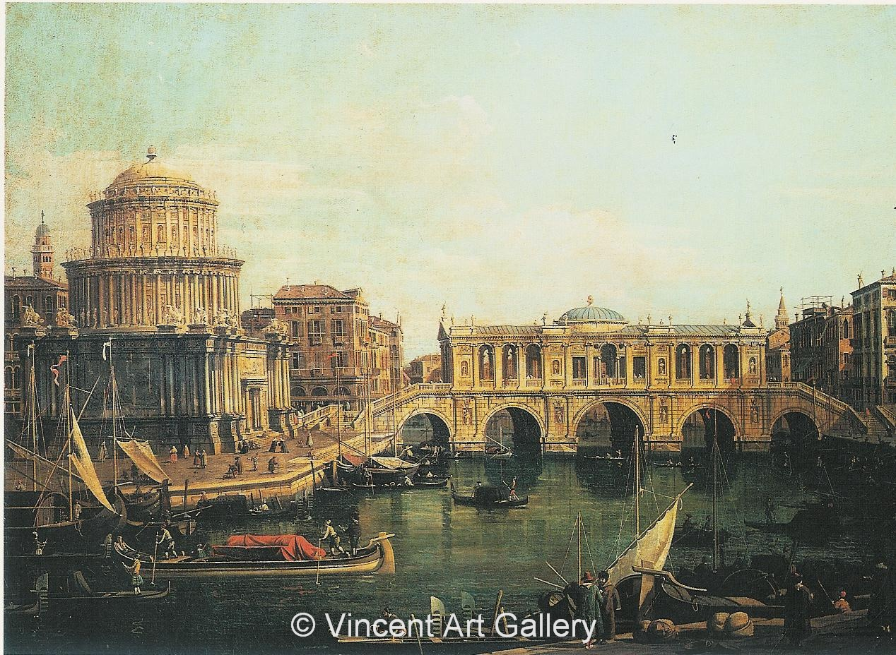 A1010, CANALETTO, Capriccio of the Grand Canal with an Imaginary Rialto Bridge and other Buildings