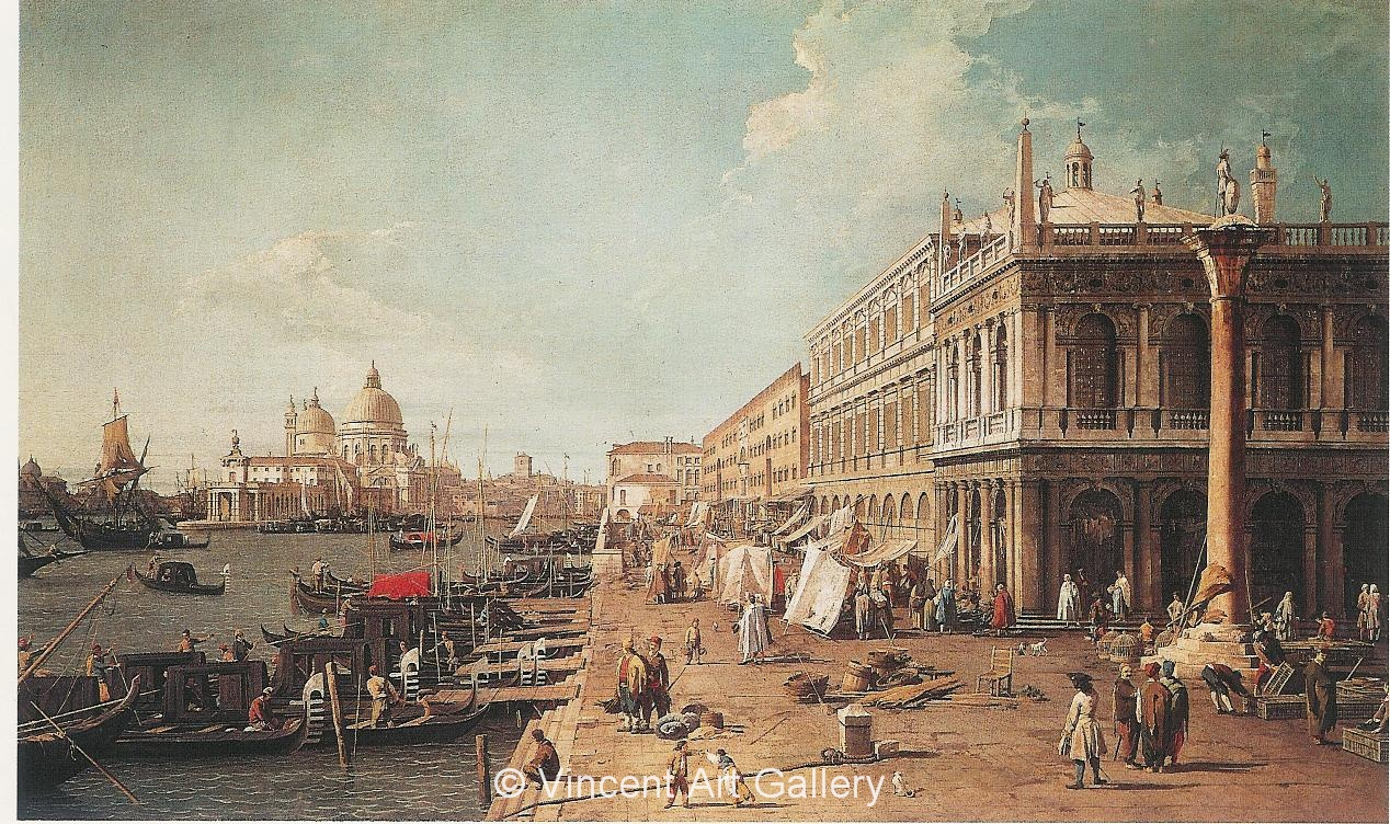A1016, CANALETTO, Molo with the Library (Molo looking towards the Zecca)
