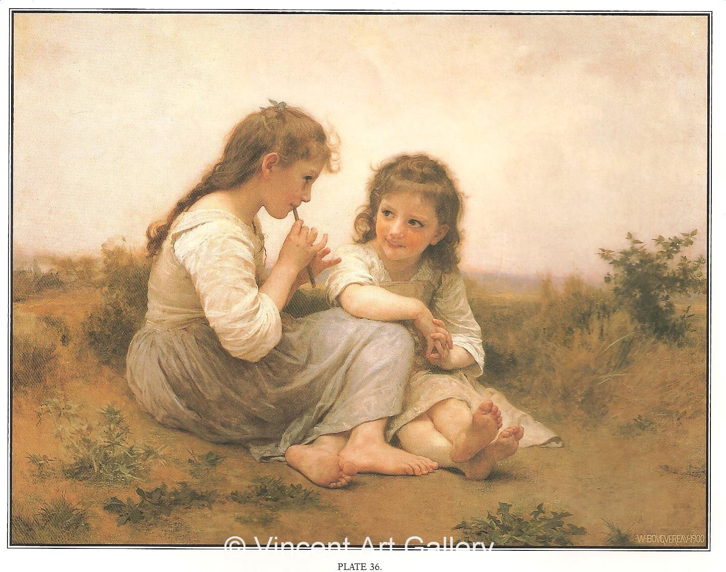 A1392, BOUGUEREAU, Two Girls, Childhood Idyll
