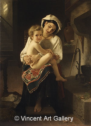A1408,BOUGUEREAU, Young Mother Gazing at Her Child, 1871