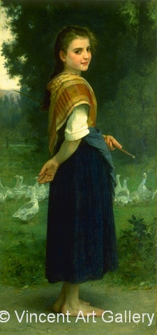A1411,BOUGUEREAU, The Goose Girl, 1891