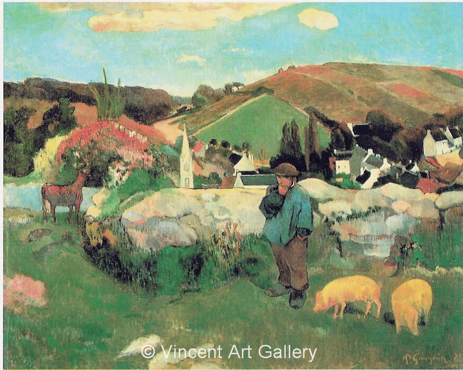 A3596, GAUGUIN, Breton Landscape with Pigs, 1888