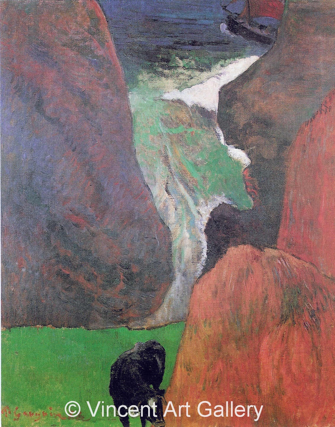 A3606, GAUGUIN, Seascape with a Cow on the Edge of a Cliff,