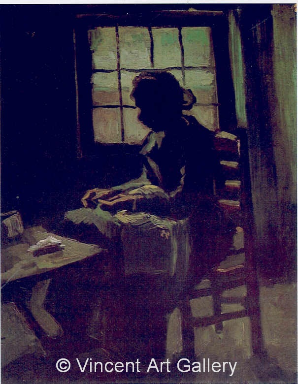 JH 719 - Peasant Woman Sewing in Front of a Window