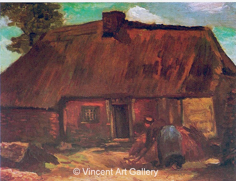 JH 803 -  Cottage with Peasant Woman Digging