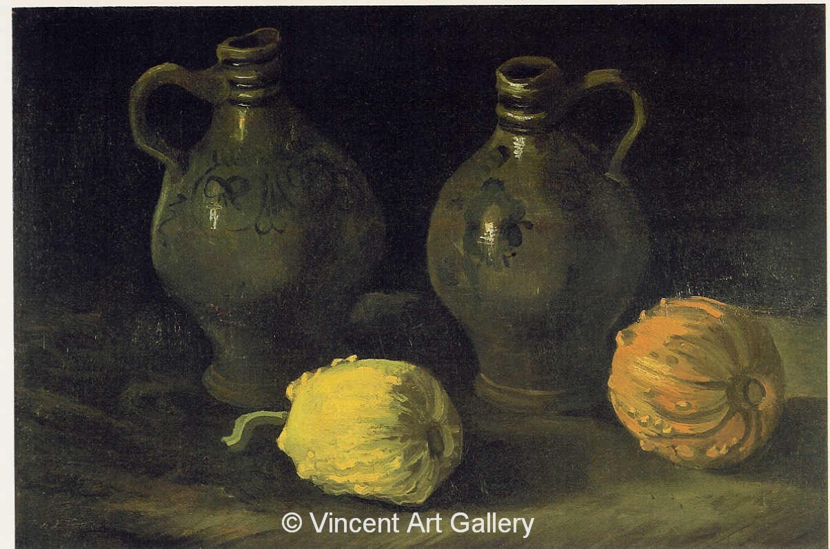JH 921 - Still Life with Two Jars and Two Pumpkins