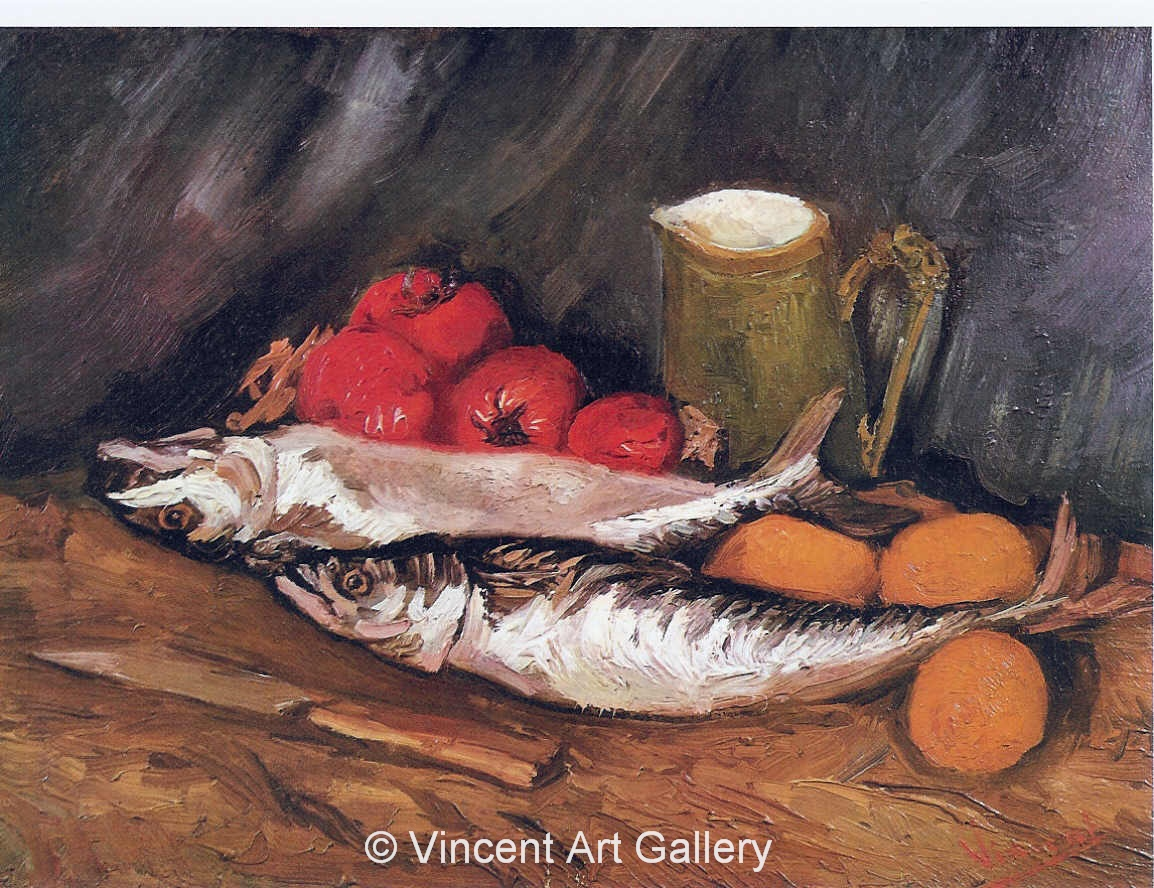 JH1118, Still Life with Mackerels, Lemons and Tomatoes
