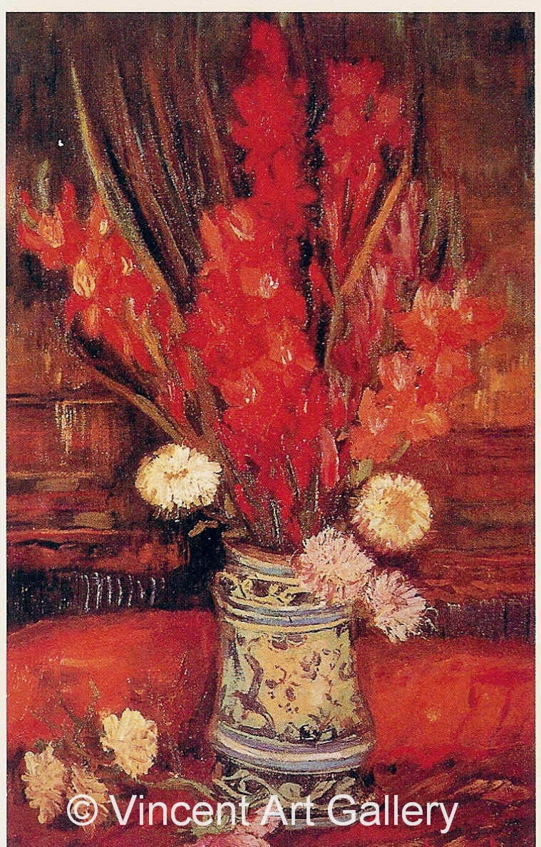 JH1149, Vase with Red Gladioli