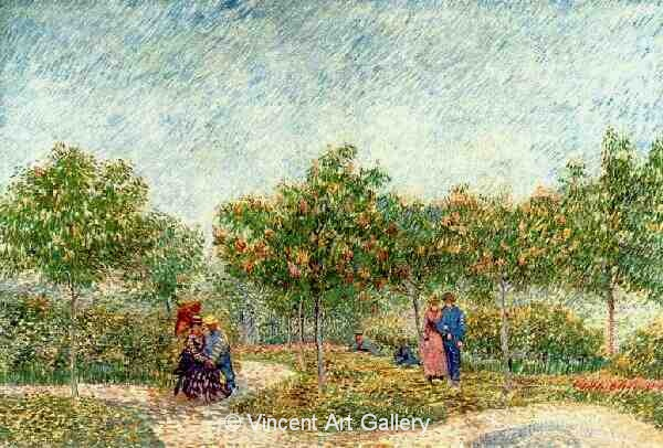 JH1258, Couples in the Voyer d'Argenson Park at Asnieres - WHOLE PAINTING