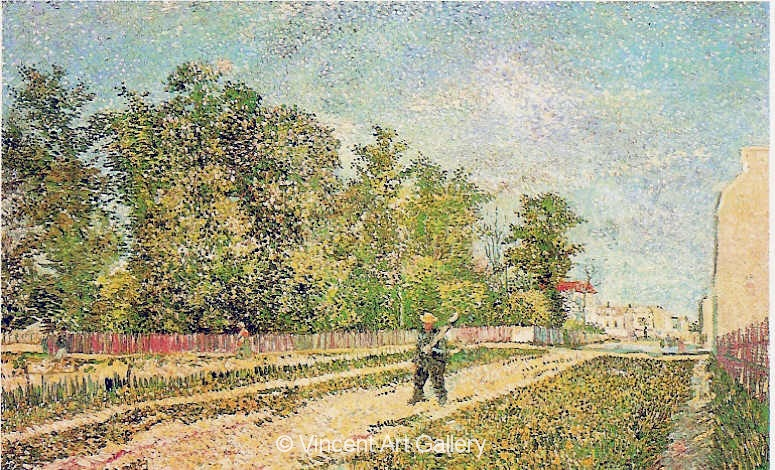 JH1260, Outskirts of Paris,  Road with Peasant Shouldering a Spade