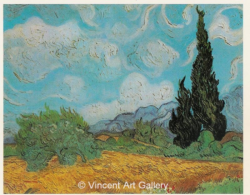 JH1790, Wheat Field with Cypresses