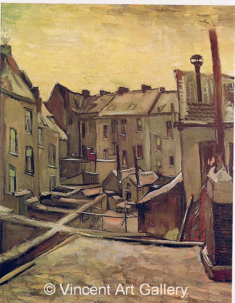 JH970, Backyards of Old Houses in Antwerp in the Snow