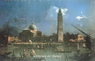 Night-time Celebration outside the Church of San Pietro di Castello by   Canaletto