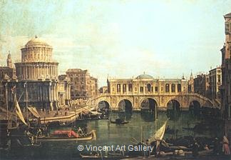 """Capriccio"" of the Grand Canal with an Imaginary Rialto Bridge and other Buildings by   Canaletto"