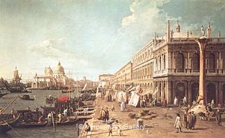 Molo with the Library (Molo looking towards the Zecca) by   Canaletto