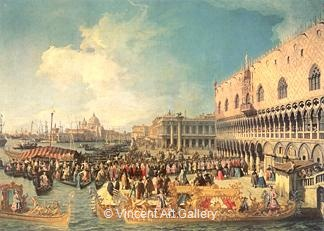 Reception of the Imperial Ambassador at the Doge's Place by   Canaletto