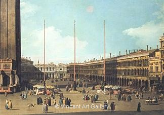 Piazza San Marco, Looking towards San Geminiano by   Canaletto