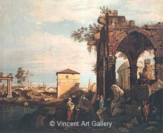 Landscape with Ruins by   Canaletto