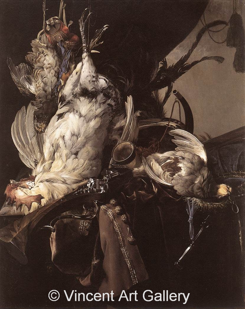 a1036 W.v. Aelst Still-Life of Dead Birds and Hunting Weapons