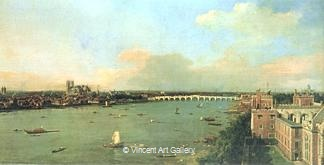 The Thames with St. Paul's Cathedral by   Canaletto