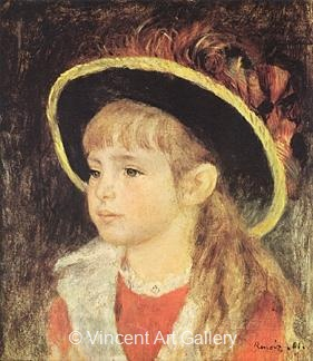 Girl with a Blue Hat by Pierre-Auguste  Renoir