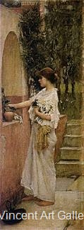 A Roman Offering by J.W.  Waterhouse