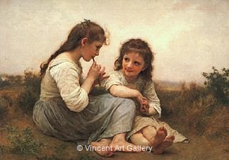 Two Girls, Childhood Idyll by W.A.  Bouguereau