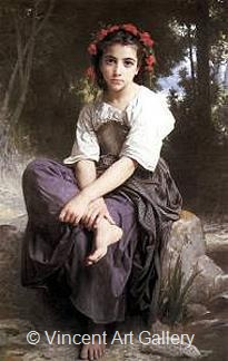 At the Edge of the River by W.A.  Bouguereau