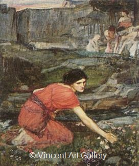 Maidens picking Flowers by a Stream by J.W.  Waterhouse