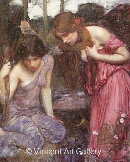 Nymphs finding the Head of Orpheus (study) by J.W.  Waterhouse