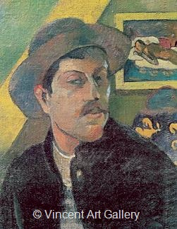 Self Portrait with a Hat by Paul  Gauguin