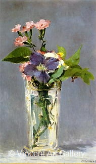 Carnations and Clematis in Christal Vase by