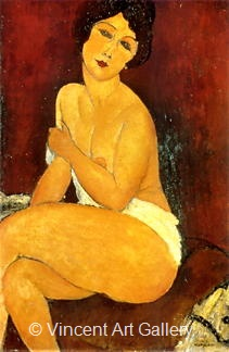 Nude, Sitting on Couch by Amedeo  Modigliani