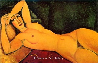 Female Nude, Left arm over Forehead by Amedeo  Modigliani