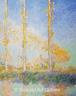 Three Poplars Trees in Autumn by Claude  Monet