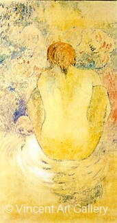 Crouching Marquesan Woman Seen from the Back by Paul  Gauguin