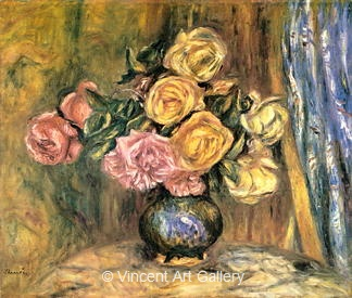 Roses in front of a Blue Curtain by Pierre-Auguste  Renoir