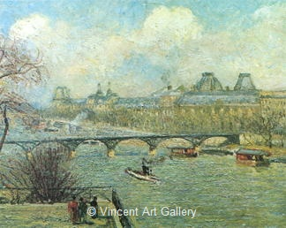 The Banks of the Seine with the Pont des Arts (seen from the Terrace of the P.Neuf. by Camille  Pissarro
