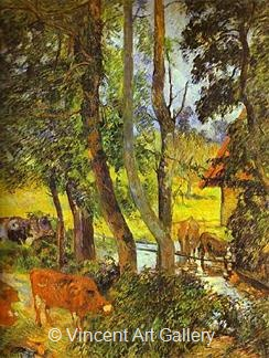 Cows at the Trough by Paul  Gauguin