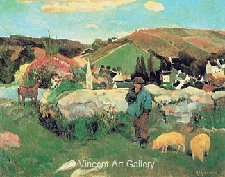 Breton Landscape with Pigs by Paul  Gauguin