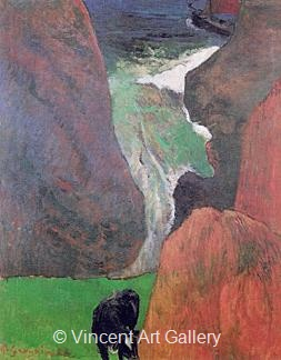 Seascape with a Cow on the Edge of a Cliff by Paul  Gauguin
