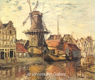 The Windmill on the Onbekende Gracht by Claude  Monet