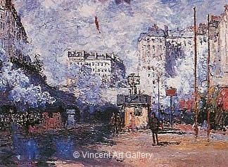 Exterior of the Saint-Lazare Station, Sunlight Effect by Claude  Monet