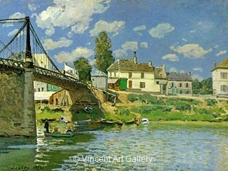 bridge at villeneuve la garenne by alfred sisley oil painting reproduction. Black Bedroom Furniture Sets. Home Design Ideas