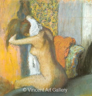 Woman drying her Neck, Side View by Edgar  Degas
