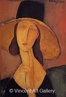 Jeanne Hebuterne in Large Hat by Amedeo  Modigliani