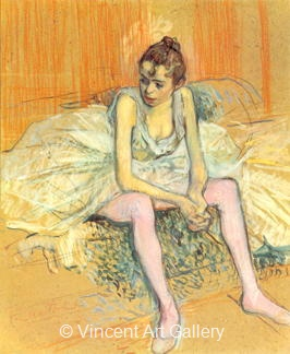 Seated Dancer with Pink Stockings by Henri de Toulouse-Lautrec