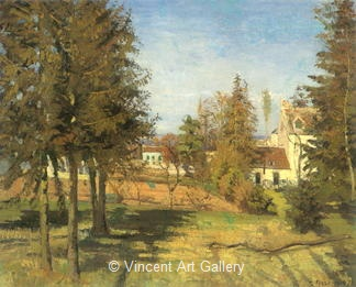 The Pine Trees at Louveciennes by Camille  Pissarro