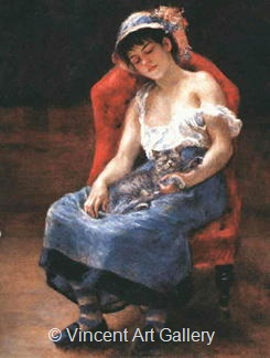 Sleeping Girl (Girl with a Cat) by Pierre-Auguste  Renoir