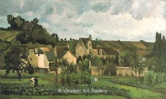 L'Hermitage at Pontoise by Camille  Pissarro